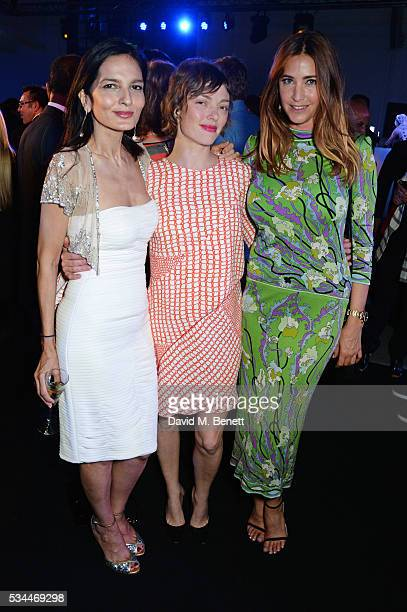 Yasmin MIlls Camilla Rutherford and Lisa Snowdon attend the UK VIP reveal of the Maserati Levante SUV at The Royal Horticultural Halls on May 26 2016...