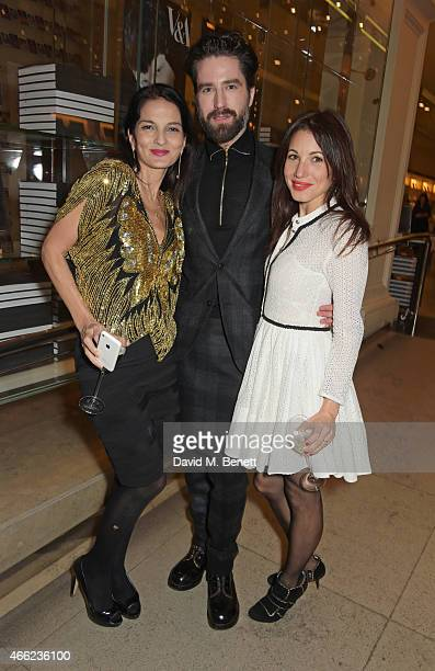 Yasmin Mills Jack Guinness and Lauren Kemp attend the Alexander McQueen Savage Beauty VIP private view at the Victoria and Albert Museum on March 14...