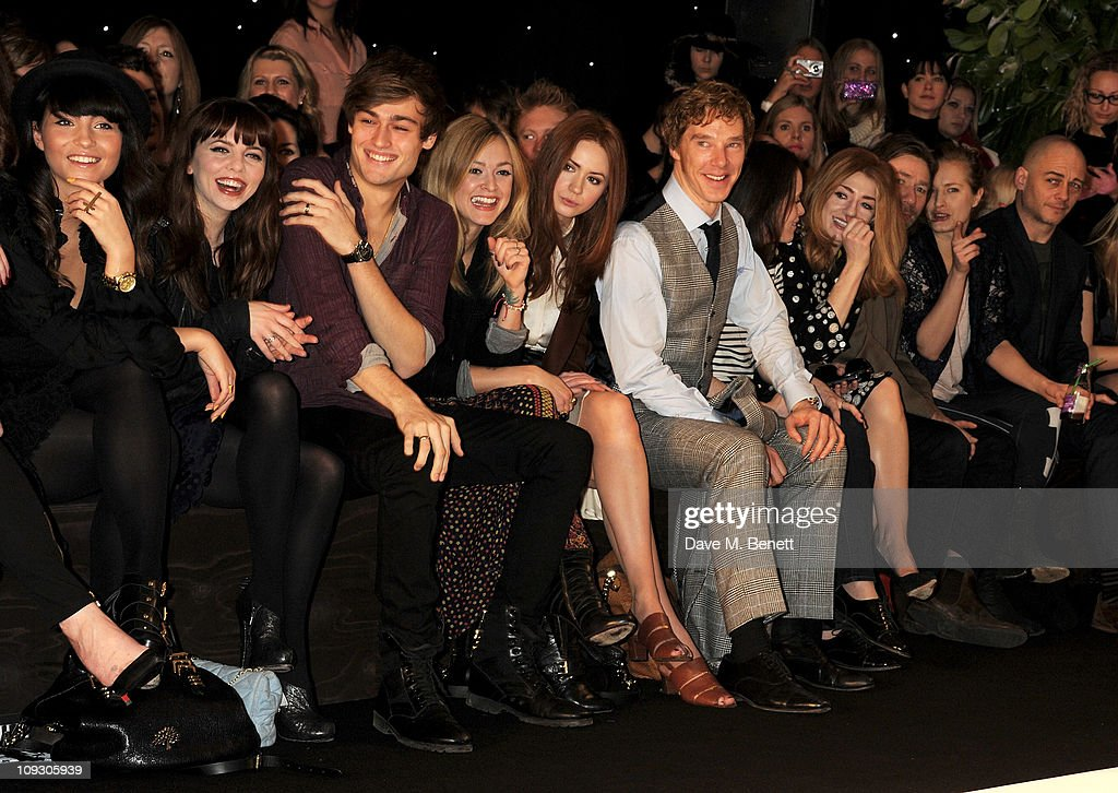 Yasmin, Olivia Lovibond, Douglas Booth, Fearne Cotton, Karen Gillan, Benedict Cumberbatch, Claire Foy, Mat Collishaw, Polly Morgan, and Dinos Chapman sit in the front row at the Mulberry Salon Show at London Fashion Week Autumn/Winter 2011 at Claridge's Hotel on February 20, 2011 in London, England.