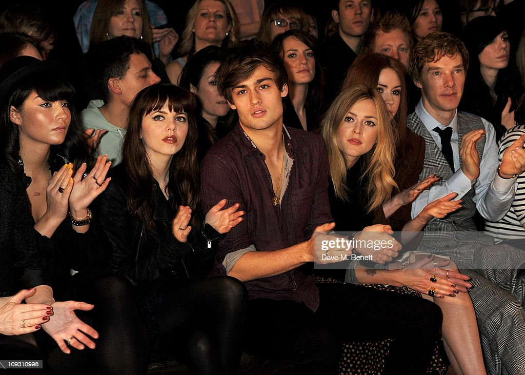 Yasmin, Ophelia Lovibond, Douglas Booth, Fearne Cotton, Karen Gillan, and Benedict Cumberbatch sit in the front row at the Mulberry Salon Show at London Fashion Week Autumn/Winter 2011 at Claridge's Hotel on February 20, 2011 in London, England.
