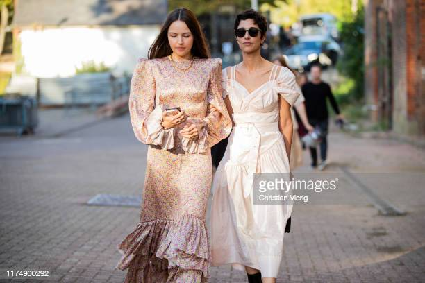 Yasmin Sewell is seen wearing creme white dress black bag and boots outside Rocha during London Fashion Week September 2019 on September 15 2019 in...