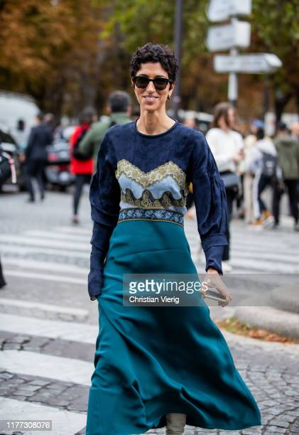 Yasmin Sewell is seen wearing knit, green skirt outside Chloe during Paris Fashion Week Womenswear Spring Summer 2020 on September 26, 2019 in Paris,...