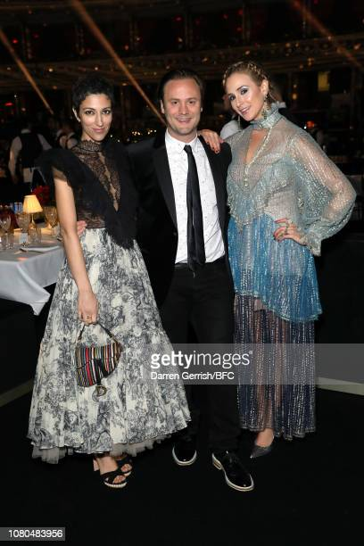 Yasmin Sewell Nicholas Kirkwood and Elisabeth von Thurn und Taxis during preceremony drinks at The Fashion Awards 2018 In Partnership With Swarovski...