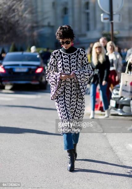 Yasmin Sewell wearing a black white knit outside Chloe on March 2 2017 in Paris France