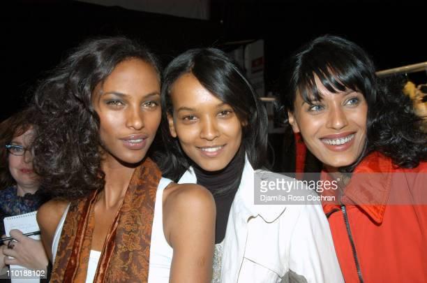 Yasmin Warsame Liya Kebede and Ujjwala Raut during Olympus Fashion Week Fall 2004 Tracy Reese Front Row and Backstage at Studio Noir at Bryant Park...