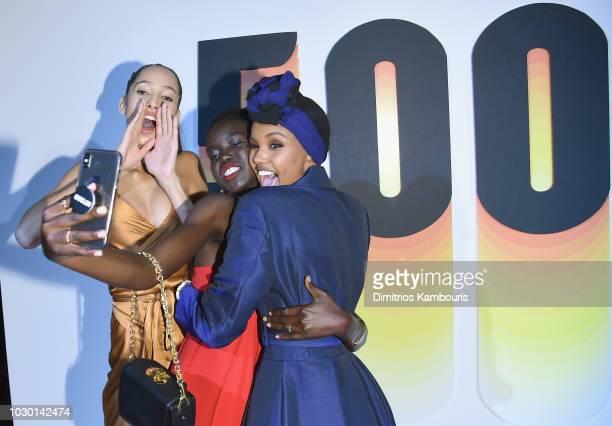 Yasmin Wijnaldum Adut Akech and Halima Aden attend the #BoF500 gala dinner during New York Fashion Week Spring/Summer 2019 at 1 Hotel Brooklyn Bridge...