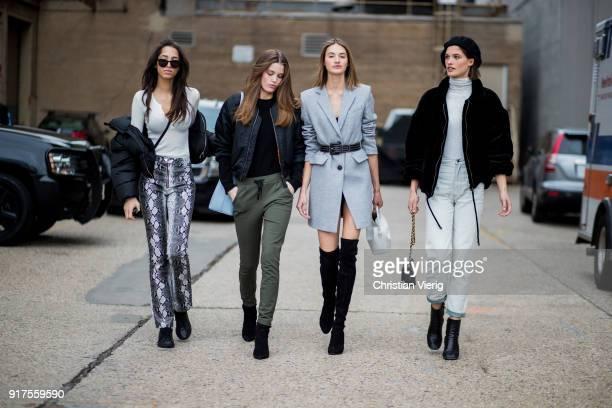 Yasmin Wijnaldum Dutch model Sanne Vloet wearing grey blazer jacket belt and Julia Vanos wearing Isabel Marant jacket turtleneck beret Eckhaus Latta...