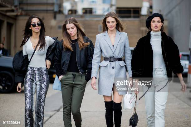 Yasmin Wijnaldum Dutch model Sanne Vloet wearing grey blazer jacket belt and Julia Vanos wearing Isabel Marant jacket turtleneck beret Eckhaus Latta...