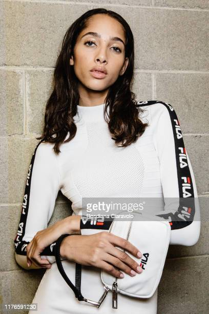 Yasmin Wijnaldum is seen backstage for Fila fashion show during the Milan Fashion Week Spring/Summer 2020 on September 22 2019 in Milan Italy