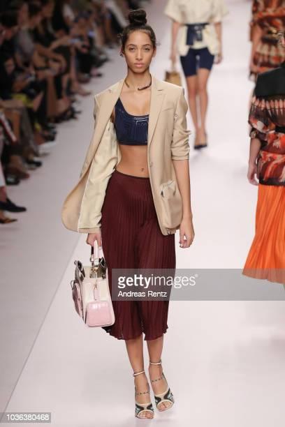 Yasmin Wijnaldum walks the runway at the Fendi show during Milan Fashion Week Spring/Summer 2019 on September 20 2018 in Milan Italy
