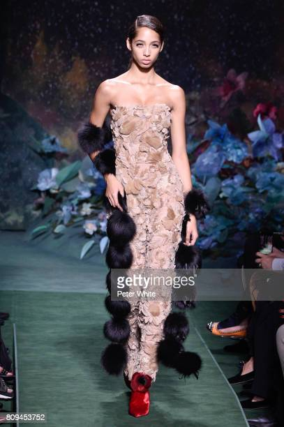 Yasmin Wijnaldum walks the runway during the Fendi Haute Couture Fall/Winter 20172018 show as part of Haute Couture Paris Fashion Week on July 5 2017...
