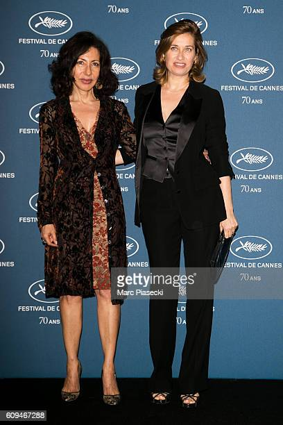 Yasmina Reza and actress Emmanuelle Devos attend the 'Cannes Film Festival 70th anniversary' Party at Palais Des Beaux Arts on September 20 2016 in...