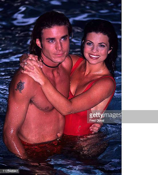Yasmine Bleeth during Jason Simmons and Yasmine Bleeth in the pool - Baywatch at London Hotel in London, Great Britain.