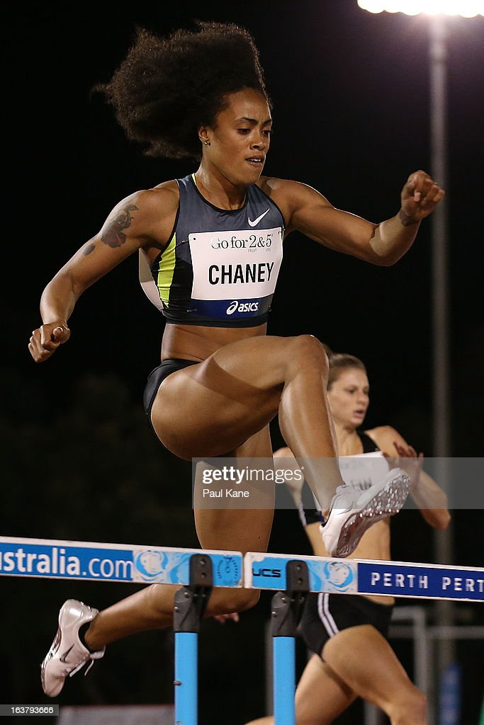Yasmine Chaney of the USA competes in the womens open 400 metre hurdles during the Perth Track Classic at the WA Athletics Stadium on March 16, 2013 in Perth, Australia.