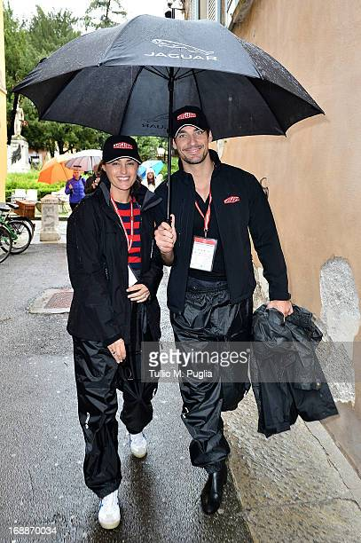 Yasmine Le Bon and David Gandy members of the Jaguar crew attends the Mille Miglia race on May 16 2013 in Brescia Italy