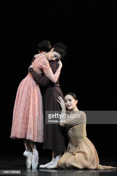 Yasmine Naghdi as Irina Itzair Mendizabal as Olga and Marianela Nunez as Masha in Kenneth MacMillan's Winter Dreams at The Royal Opera House on...