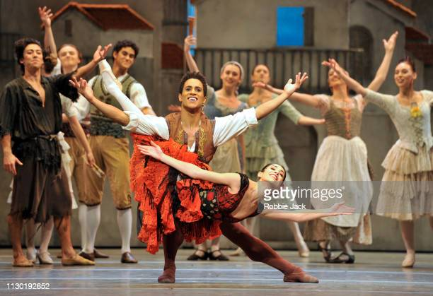 Yasmine Naghdi as Kitri and Marcelino Sambe as Basilio with artists of the company in The Royal Ballet's production of Carlos Acosta's adaptation of...