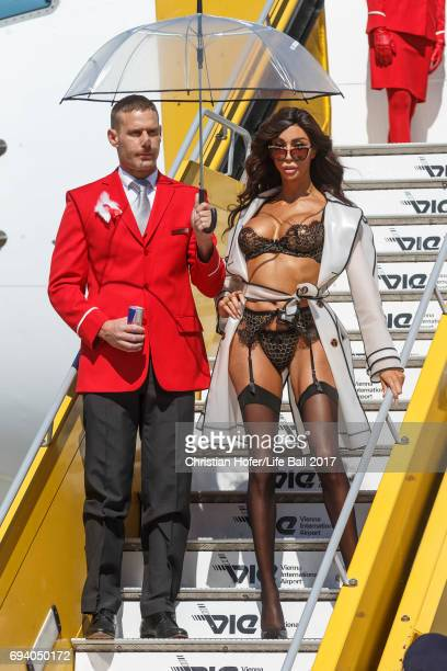 Yasmine Petti arrives on the Life Ball plane on June 9 2017 in Vienna Austria The Life Ball an annual charity ball raising funds for HIV AIDS...