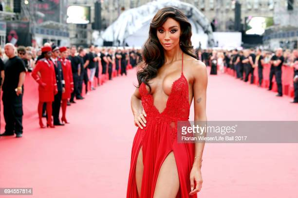Yasmine Petty arrives for the Life Ball 2017 at City Hall on June 10 2017 in Vienna Austria