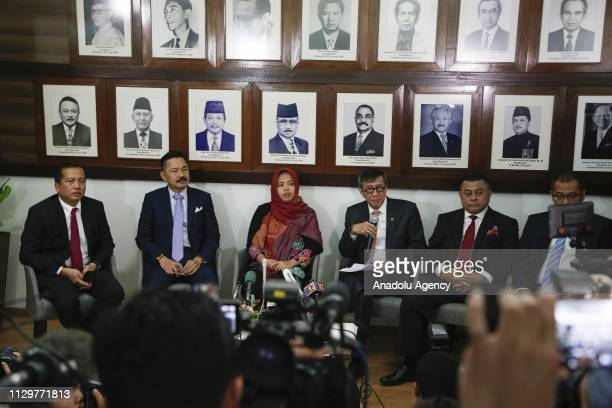 Yasonna Laoly Minister of Law and Human Rights of Indonesia speaks as Siti Aisyah appears during the press conference at the Embassy of The Republic...