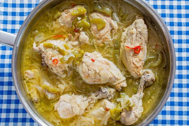 Yassa au Poulet, poultry with onions, spicy dish from Zimbabwen cuisine, Zimbabwe