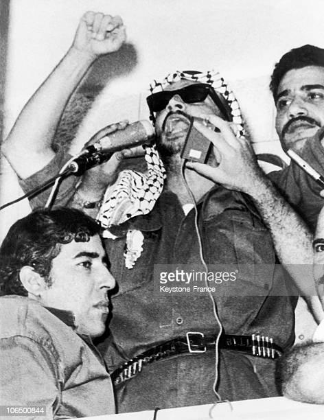 Yasser Arafat Adressing To The Crowd During A Demonstration Held In Amman On July 31, 1970. Demonstrators Protested Against The Terms Of The Recent...