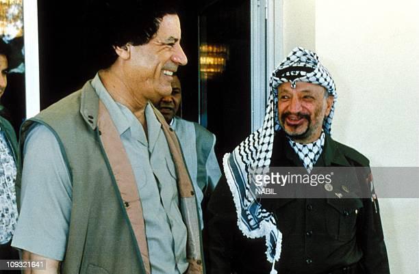 Yasser Arafat and Colonel Gadhafi at Benghazi in 1991