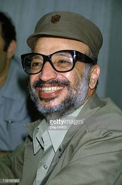 Yasser Arafat at the Bekka valley in Beirut Lebanon on May 26 1983