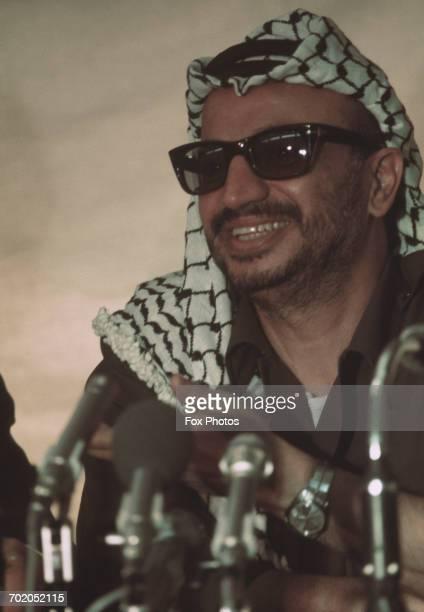 Yasser Arafat , Chairman of the Palestine Liberation Organization, attends the Arab League summit in Rabat, Morocco, 1974.