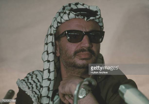 Yasser Arafat Chairman of the Palestine Liberation Organization attends the Arab League summit in Rabat Morocco 1974