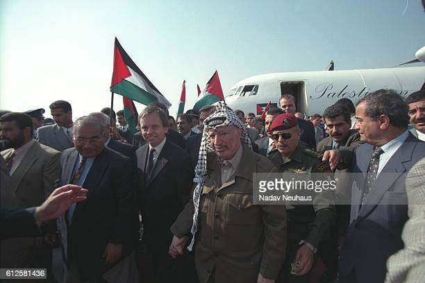 Yasser Arafat president of the Palestinian Authority arrives