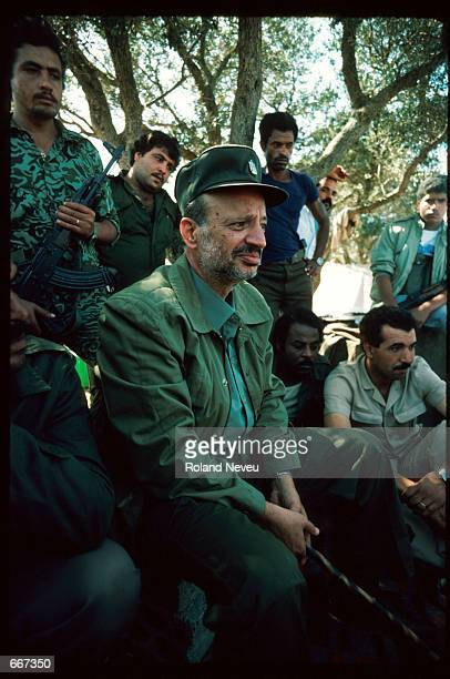 Yasser Arafat sits October 10 1983 in Tripoli Lebanon After receiving the Nobel Peace Prize in 1994 Palestine Liberation Organization leader Yasser...