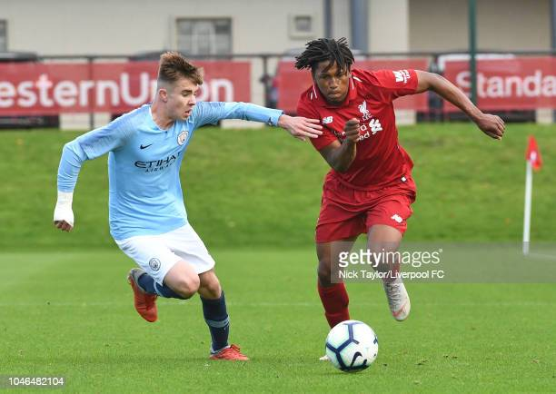Yasser Larouci of Liverpool and Ben Knight of Manchester City in action during the U18 Premier League match between Liverpool U18 and Manchester City...