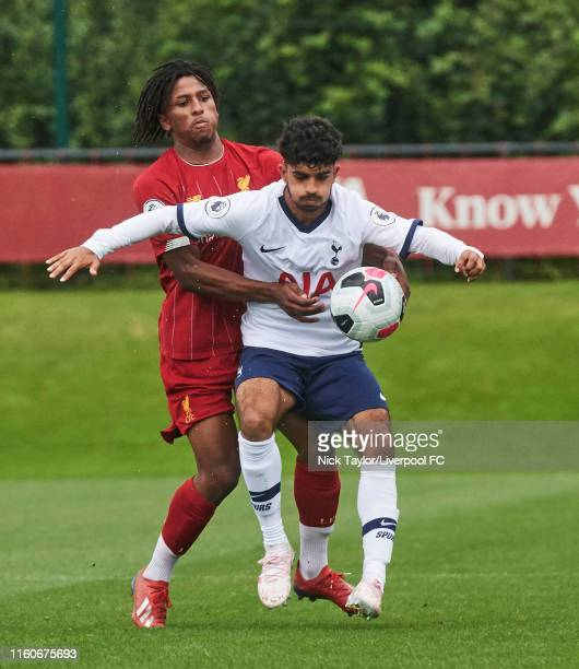 Yasser Larouci of Liverpool and Dilan Markanday of Tottenham Hotspur in action during the PL2 game at The Kirkby Academy on August 10 2019 in Kirkby...