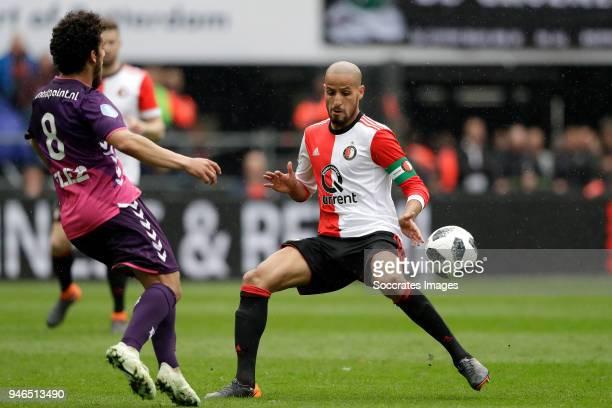 Yassin Ayoub of FC Utrecht Karim El Ahmadi of Feyenoord during the Dutch Eredivisie match between Feyenoord v FC Utrecht at the Stadium Feijenoord on...