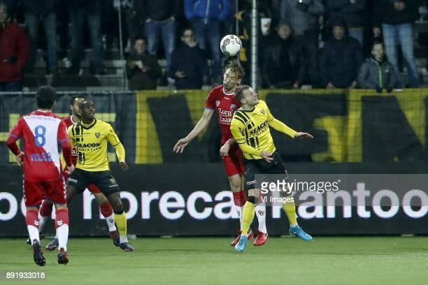 Yassin Ayoub of FC Utrecht Mark van de Maarel of FC Utrecht Torino Hunte of VVV Venlo Willem Janssen of FC Utrecht Lennart Thy of VVV Venlo during...
