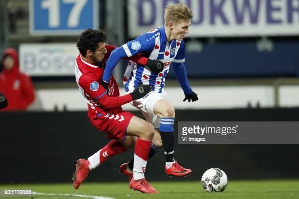 Yassin Ayoub of FC Utrecht Martin Odegaard of sc Heerenveen during the Dutch Eredivisie match between sc Heerenveen and Willem II Rotterdam at Abe...