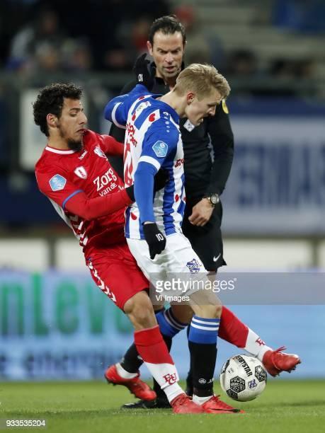 Yassin Ayoub of FC Utrecht referee Bas Nijhuis Martin Odegaard of sc Heerenveen during the Dutch Eredivisie match between sc Heerenveen and Willem II...