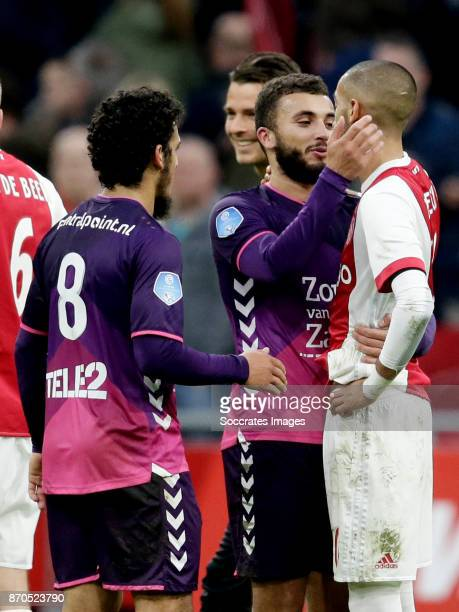 Yassin Ayoub of FC Utrecht Zakaria Labyad of FC Utrecht Hakim Ziyech of Ajax during the Dutch Eredivisie match between Ajax v FC Utrecht at the Johan...