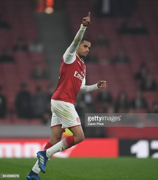 Yassin Fortune of Arsenal celebrates scoring his penlaty in the shoot out during the match between Arsenal U23 and Villarreal U23 at Emirates Stadium...