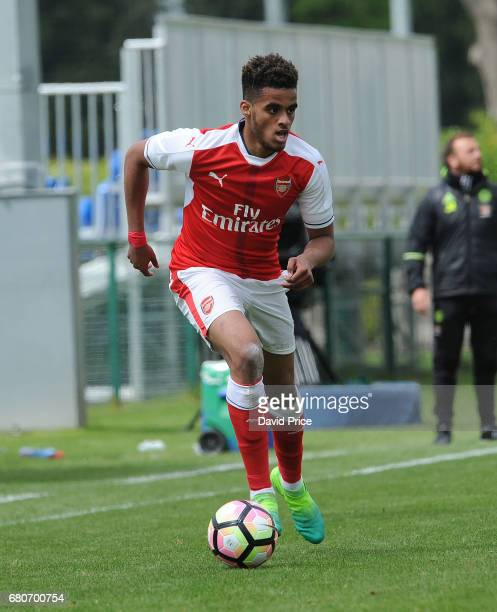 Yassin Fortune of Arsenal during the U18 Premier League match between Chelsea and Arsenal at Chelsea Training Ground on May 9 2017 in Cobham England