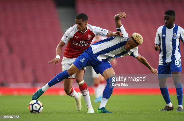 Yassin Fortune of Arsenal takes on Luiz Palhares of Porto during the match between Arsenal and FC Porto at Emirates Stadium on May 8 2018 in London...