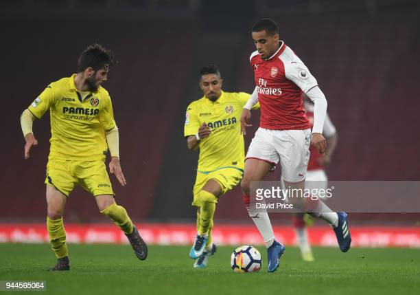 Yassin Fortune of Arsenal takes on Miguel Juan Llambrich of Villarreal during the match between Arsenal U23 and Villarreal U23 at Emirates Stadium on...