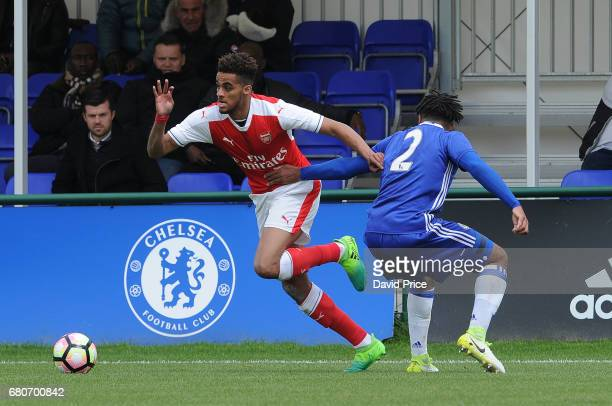 Yassin Fortune of Arsenal takes on Reece James of Chelsea during the U18 Premier League match between Chelsea and Arsenal at Chelsea Training Ground...