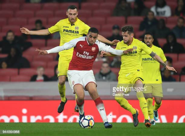 Yassin Fortune of Arsenal takes on Xavier Quintilla Guasca and Garcia Lugea Imanol of Villarreal during the match between Arsenal U23 and Villarreal...