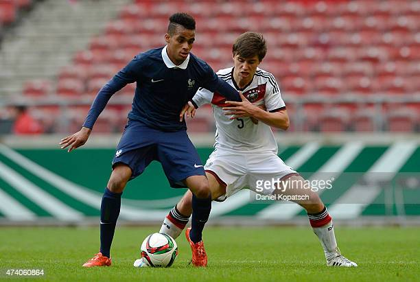 Yassin Fortune of France is challenged by Tom Baack of Germany during the International Friendly match between U16 Germany and U16 France at...