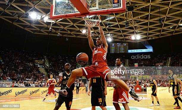 Yassin Idbihi of Muenchen dunks against Ludwigsburg during game one of the 2014 Beko BBL Playoffs semifinals between FC Bayern Muenchen and MHP...