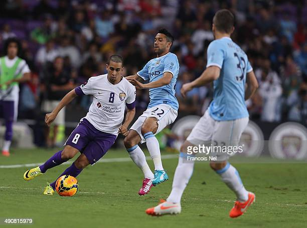 Yassine Al Ghanassy of Al Ain in action during the friendly match between Al Ain and Manchester City at Hazza bin Zayed Stadium on May 15 2014 in Al...