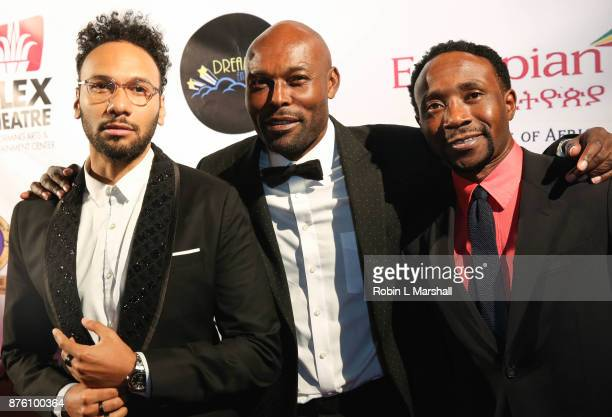 Yassine Azzouz Jimmy Jean Louis and Orock Orock arrive at the 2017 HAPAwards at Alex Theatre on November 18 2017 in Glendale California