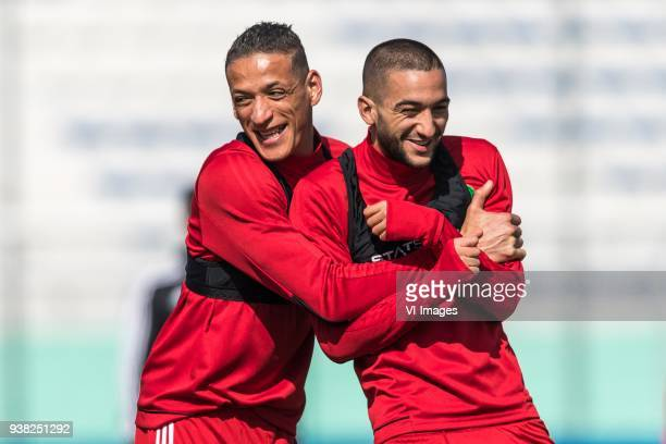 Yassine Bammou of Morocco Hakim Ziyech of Morocco during a training session prior to the International friendly match between Morocco and Oezbekistan...